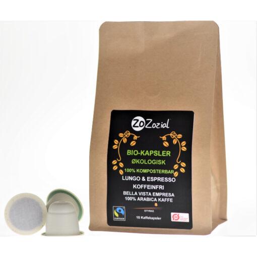 Decaffeinated coffee capsules pods organic fairtrade